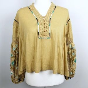 New Free People Embroidered Floral Sleeve Boho Top